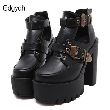 Gdgydh Spring Autumn Women Pumps Round Toe Platform Thick High Heels Women Shoes Casual Cut-outs Fashion Buckle Size 35-39