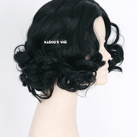 Disney movie  Snow White jet black  center-parted curly wig . sexy hair for women