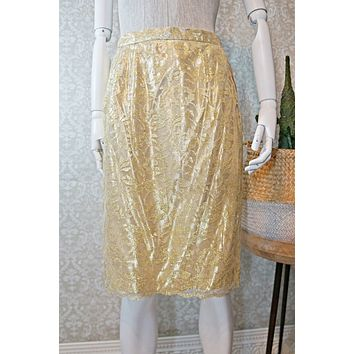 Vintage Scallop Lace  Gold Pencil Skirt
