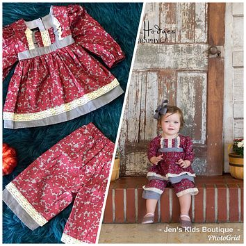 2018 Fall Isobella & Chloe Georgina Burgundy & Gray Fun Pant Set