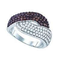 Diamond Fashion Ring in White Gold-plated silver 1.01 ctw