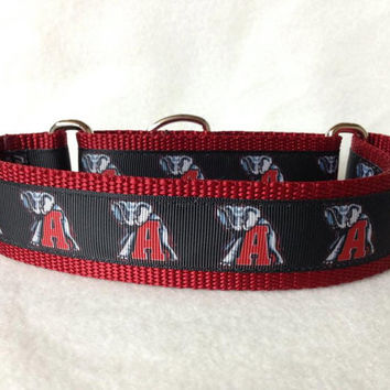 "Nylon w/University of Alabama Elephant A Ribbon Leash, Martingale or Quick Release Collar Ribbon Collar 1"" Martingale 1.5"" Martingale"