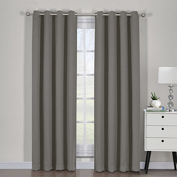 Gray 54x96 Ava Blackout Weave Curtain Panels With Tie Backs Pair (Set Of 2)