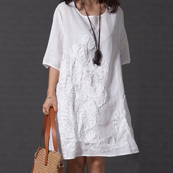 Ethnic Chineses Folk Cotton Linen Women Summer Round Neck Solid Color Beach Casual Half Sleeve Loose Applique Dress designer clothes