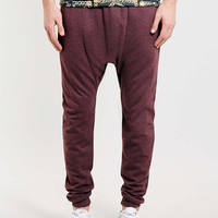 BURGUNDY DROP CROTCH JOGGERS - TOPMAN USA