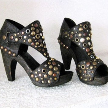 Handmade Black Clog Shoe Mixed Stud Wood High Heel Mad Maxine CUSTOM ORDER Karen Kell Collection