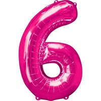 Number 6 Balloon - Bright Pink