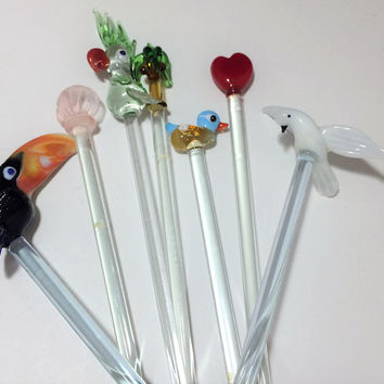Blown Glass Swizzle Sticks Barware, Parrot Seagull Toucan Birds Palm Tree Heart Shell, Vintage Bar Accessories, Lampwork 718m