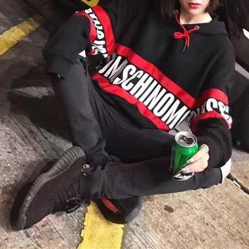 """Moschino"" Women Fashion Casual Letter Multicolor Stripe Print Loose Long Sleeve Hooded Sweater Tops"