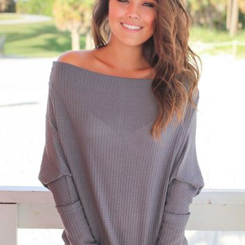 Charcoal Off Shoulder Knit Top