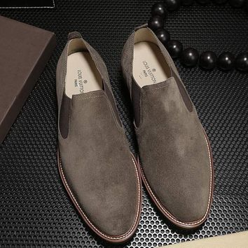LV Louis Vuitton Men's Vintage Casual Loafer Shoes coffee Best Quality