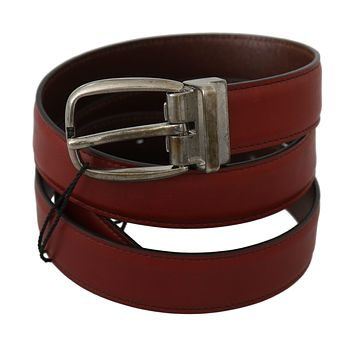 Dolce & Gabbana Bordeaux Red Leather Metal Buckle Belt