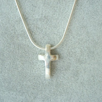 Women's Silver Cross Necklace. Hand Forged. One-of-a-Kind.