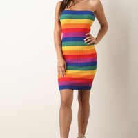 Colorful Striped Ribbed Knit Tube Dress