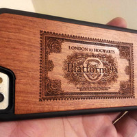 Harry Potter Phone Case - Hogwarts Express Ticket - Laser Engraved Wooden Phone Case Gift - UK MADE - iPhone 5 5s 6 plus Samsung s4 s5