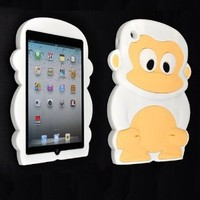 Cute White Monkey Silicone Soft Back Cover Case for Apple iPad Mini