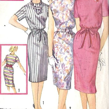 1960s Misses Slim Dress Vintage Sewing Pattern, Mad Men, Office Fashion, Simplicity 3780 bust 32""