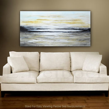 Abstract landscape painting large original contemporary oil painting 24 x 48 Sienna modern landscape by L.Beiboer