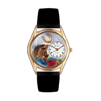 Whimsical Watches Healthcare Nurse Gift Accessories Horse Head Black Leather And Goldtone Watch