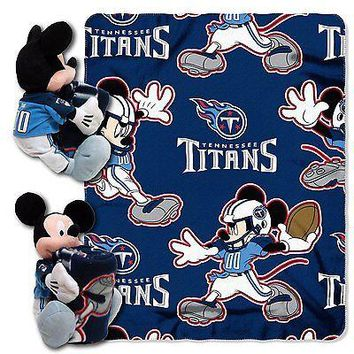 Tennessee Titans NFL Mickey Mouse Throw and Hugger Pillow Set