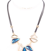 Blue High Polish Metal Rhinestone Accent Necklace