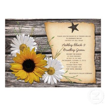Rustic Sunflower Daisy Wedding Invitation - Rev from Zazzle.com