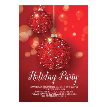Red Glitter Ornament Holiday Party Invitation