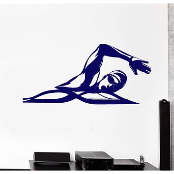 Vinyl Wall Decal Swimming Pool Water Sports Swimmer Stickers Unique Gift (1546ig)