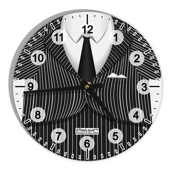 "Pinstripe Gangster Jacket Printed Costume 8"" Round Wall Clock with Numbers All Over Print"