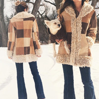 Vintage 1970's Suede PATCHWORK Faux Fur Penny Lane Boho Hippie Jacket Coat || Cream, Brown & Tan || Size Medium Large