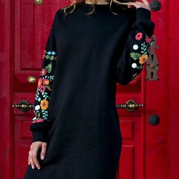 7777fc4dd499 Black Embroidery Long Sleeve Round Neck Mexico Casual Mini Dress