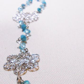 Rosary Style Necklace - Swarovski chain necklace - Bohemian Rosary