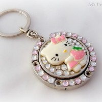 Strawberry kitty folding purse hook, keychain, bag charm from celdeconail