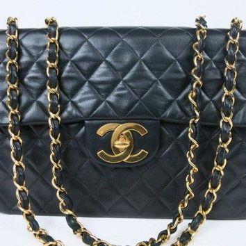 Authentic CHANEL Large Matelasse Quilted Chain Shoulder Bag LAMBSKIN r720