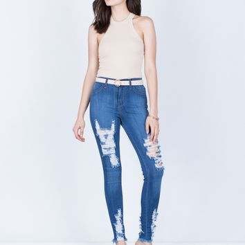 Stretchy Destroyed Skinny Jeans
