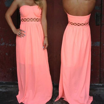 Pink Strapless Cut Out Maxi Dress