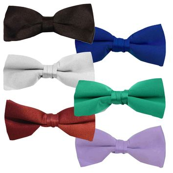 One Dozen Unisex Pre-Tied Banded Bow Ties in Assorted Colors