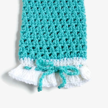 Plastic Bag Holder, Crochet Bag Dispenser, Turquoise and White Knitted Bag Keeper, Kitchen Storage Recycling Helper