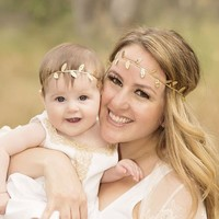 New Mommy And Baby Silver Gold Leaf Headband For Hair Accessories Peace Olive Branch Child Girl Cute Leaves Hairband