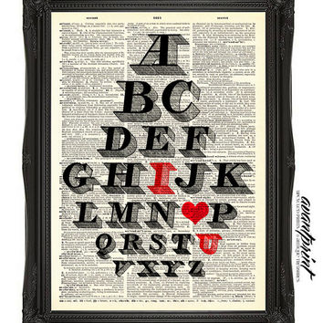 Read Between the Letters I Love You Typography Print on Antique Unframed Upcycled Bookpage