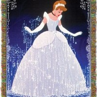 Disney, Cinderella, Cinderella Sparkles 48-Inch-by-60-Inch Acrylic Tapestry Throw by The Northwest Company