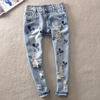 2017 new Mickey  summer style women harem pants hole jeans Boyfriend Jeans for Women Hole Vintage Girls Denim Pencil Pants 859V