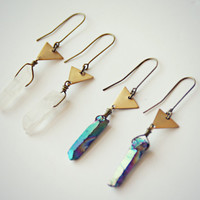 quartz triangle earrings, crystal earrings, crystal jewelry, quartz jewelry, titanium quartz earrings, triangle earrings, mineral earrings