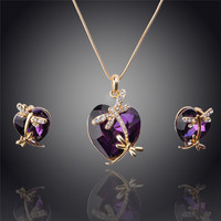14k Gold Plated Crystal Heart Pendant Necklace Earrings Set Four Colors