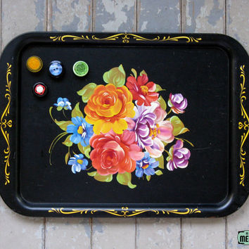 Vintage 50s 60s Retro Decorative Black Floral Tin Tole Painted Magnet Message Memo Board Repurposed Upcycle
