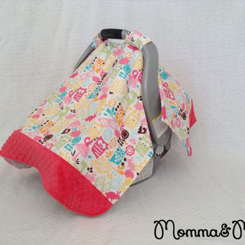 infant - baby - girl- Woodland Animals and Watermelon Pink Minky Trimmed Carseat Cover -carseat canopy