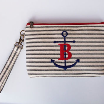 Deluxe Nautical Navy Stripe Ticking Anchor Monogram Clutch Wristlet/Purse/Zipper Pouch/Bag/Wallet/Phone Holder/Personalized Gift/Organizer