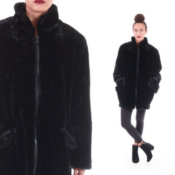 90s Black Faux Fur Anorak Coat Slouchy Thick Soft Warm Vintage Minimalist Goth Club Kid Outerwear Made in the USA Womens Size Large XL