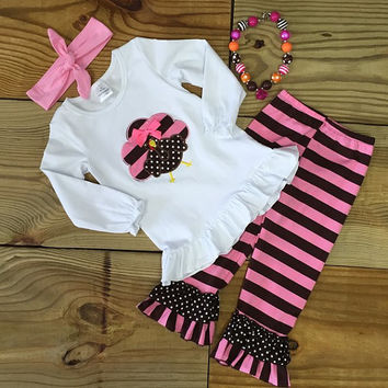 Pink & Brown Striped Turkey Outfit