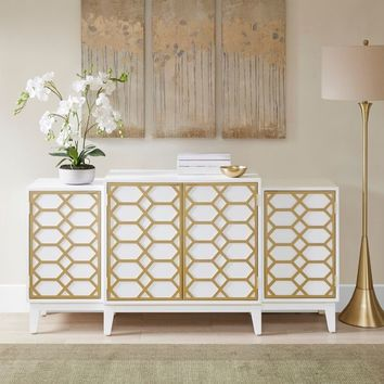 "Madison Park Gabrielle Gold/ White Dining Buffet Server Gold Lattice Design Kitchen Storage Cabinet - 68""w x 17""d x 34.25""h 